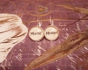 Sterling Silver Harry Potter Mischief Managed Earrings