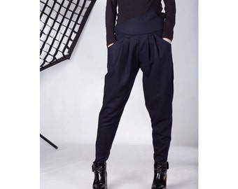 Navy Pants, Wool Pants, Autumn outfit, Navy Harem Pants, Navy Drop Crotch Pants, Black Drop Crotch Pants, Comfortable Harem Pants