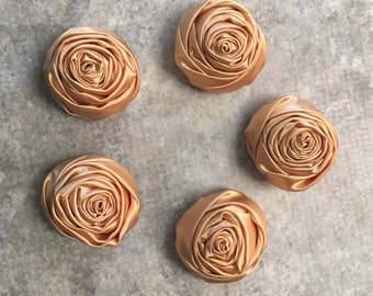 2 inch khaki rosette, tan satin flowers, headband supplies, roses, headband flowers, wedding flowers, silk flowers, rolled flowers, tan