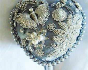 Wedding bouquet, brooch bouquet, diamante bouquet, silver wedding, butterfly bouquet, bridal bouquet, Art Deco bouquet, pearl