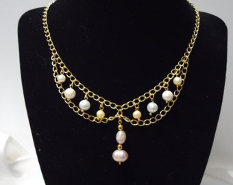 Pastel Cultured Pearl Necklace and Earring Set