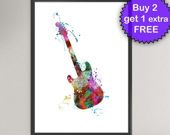 ELECTRIC GUITAR Watercolor Art Print Ink Acoustic Instrument Painting Music illustrations Art Print Wall Art Poster Wall Decor Art Home