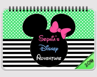 "Disney Autograph Book - GREEN  - Minnie Mouse - FLIP BOOK - Journal- Notebook - Sketchbook - Diary - Scrapbook - 5.5"" x 8.5"""