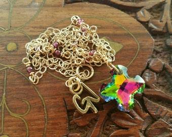 Garnet and Stunning Greek Cross Short Necklace, 14K Gold Filled Garnet Greek Cross Necklace