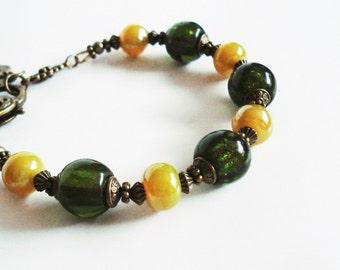 Olive Green Bracelet, Murano Glass Jewelry, Vintage Style Bronze Bracelet, Boho Chic Jewelry, Bohemian Bracelet, Olive Green Jewelry Gift