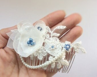 Something Blue, Bridal Hair Comb, Wedding Hair Comb, decorative hair comb, ivory lace fabric flowers bridal accessories - Blue Lily Magnolia