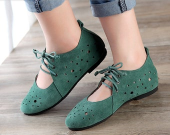 Green/White Handmade Leather Flat Shoes Women lace up sandal,Round Toe retro Shoes, Soft leather Shoes, Hollow hole shoes,Strappy shoes