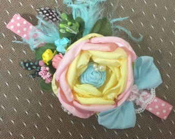 Easter baby headband. Spring headband. baby pink and yellow headband