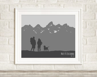 Hiking Art Print ~ Camping Art Print ~ Mountain Wedding Gift ~ Destination Wedding Gift ~ Personalized Engagement Art ~ Outdoor Adventure