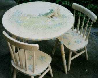 hand painted table set, children's table and chairs, child's painted table set