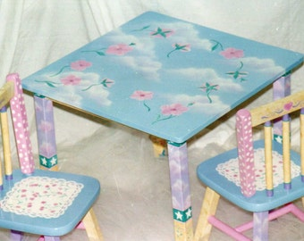 Whimsical Table And Chair Set, Hand Painted Flower Table Set, Kids Furniture