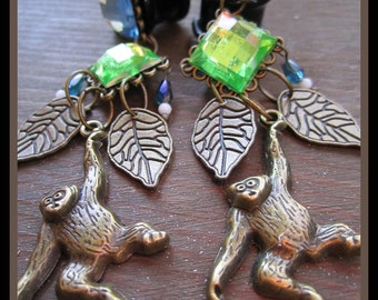 """Monkey in the Jungle stretched earrings EAR PLUGS you pick the gauge size 2g, 0g, 00g, 7/16"""", 1/2"""", 9/16"""" aka 6, 8, 10, 12, 14mm"""