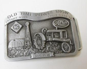 Vintage Old Time Power Show Belt Buckle / Antique Acres / Cedar Falls Iowa / Tractor / Farming