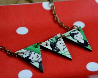 Green Vintage Children, Wooden Bunting Flag Necklace