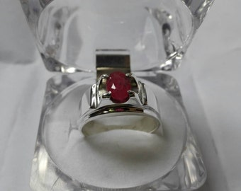 Womens natural yaqoot ruby ring dark red pigeon blood unheated afghan real Sterling silver