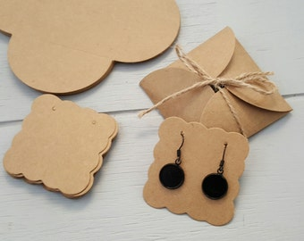 10 Kraft Earring Display Cards Covers