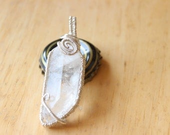 Wire Wrapped Natural Quartz Crystal Point