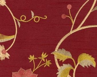 Kasmir Claudette Maroon Faux Silk Crewel Embroidered Fabric
