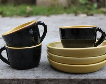 Set of 3 Soviet Ceramic Espresso Cups with Saucer, Vintage Yellow Black Small Coffee Cups, Made in USSR