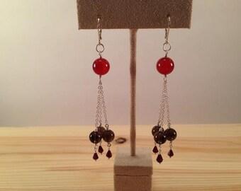 Carnelian Smoky Quartz and Garnet Earrings