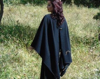 Black Wool Cape/Autumn Poncho/Unique Cape/Oversized Cape/Boho Poncho/Asymmetrical Cape/Unique Design Cape/Winter Cape/Gothic cape/