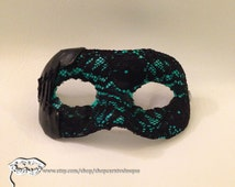 Teal and Black Lace Masquerade Mask - Carnivalesque Corset Beauty and Bondage Mask BDSM