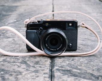 Natural Leather Camera Neck Strap - Handmade