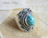 Tribal Turquoise Ring Sterling Silver Ring Ethnic Ring Bohemian Turquoise Ring Indian Silver Ring Gypsy Silver Ring Turquoise Jewelry