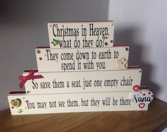 Christmas in Heaven, empty chair poem, holidays table decor, Christmas Angels, Christmas memorial, memorial for loved, angels, sympathy gift