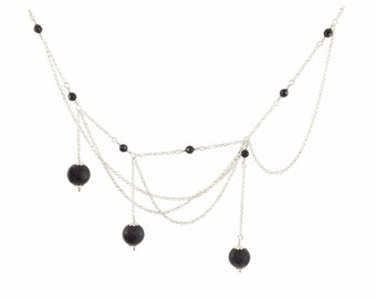 Silver 925 chain and Sun blue stone necklace
