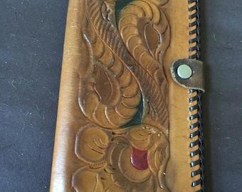 Vintage Leather Tooled Wallet Clutch