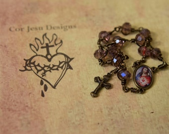 Sacred Heart pocket rosary / purple crystal beads / tenner rosary / single decade rosary / wire-wrapped / unbreakable rosary