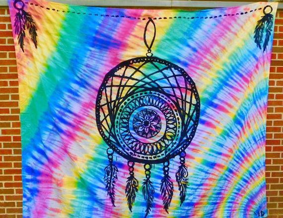 dream catcher tie dye tapestry. Black Bedroom Furniture Sets. Home Design Ideas