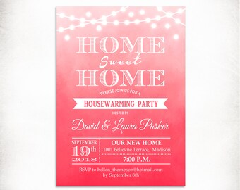 Housewarming Invitation / Watercolor Pink / Coral / Blush / Peachy / String Lights / Fairy Lights / Digital Invitation / Customized