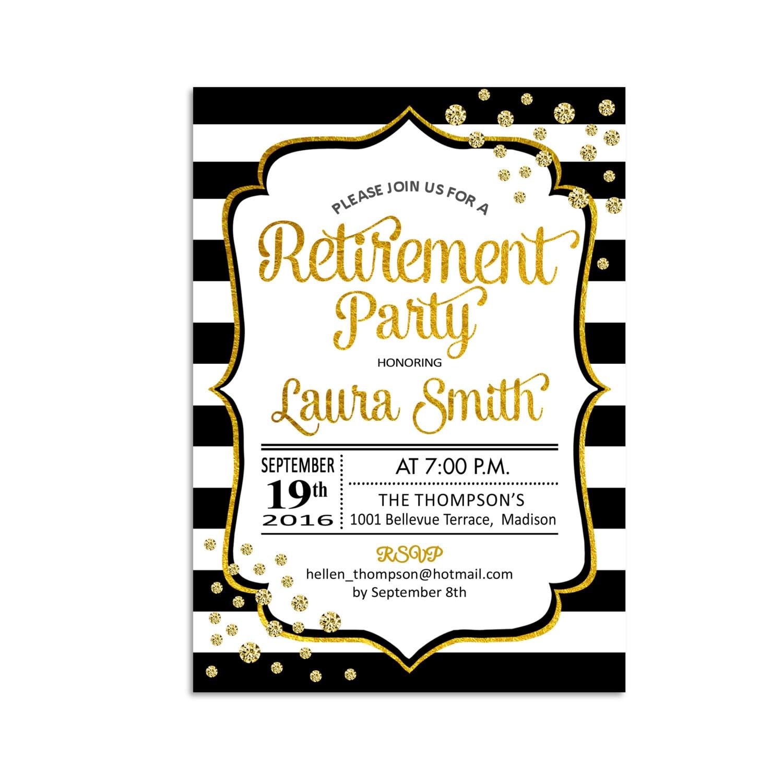 Retirement Party Invitation / Glitter Gold / Black White Stripes ...