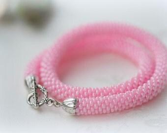 "Bead Crochet Necklace ""Pink!"""