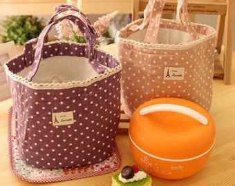 Small cooler Picnictasche with dots purple