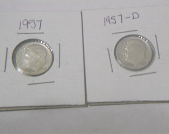 2/ Roosevelt Dimes 1957-D and 1957-P