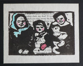 Custom Family Portrait Sisters Cat Lino Print on Wood