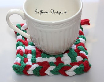 Cotton Coasters / Set of 4 / Red & Green Woven Coasters / Cotton Fabric Pot Holders / Kitchen Gift for Mom / Drink Coasters / Mini Trivets