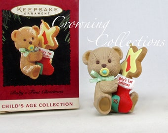 1995 Hallmark Baby's First Christmas Keepsake Ornament 1st Teddy Bear Years Child's Age Collection MINT in Box Sugar Cookie
