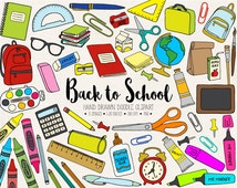 Back To School Clipart. Hand Drawn School Clip Art. Office Supplies, Teacher, Student Clipart. Doodle Stationery, Backpack, Pen, Paint Image