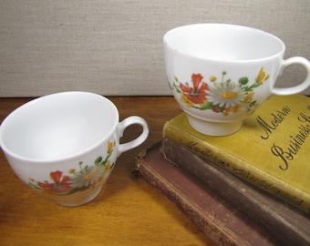 JL Menau - Coffee Mugs - Yellow, Orange and White Flowers - Made in the German Democratic Republic - Set of Two (2)