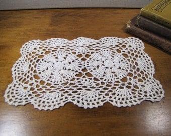 """Rectangular Crocheted Doily - Off White - Scalloped Edge - 9"""" x 6"""""""