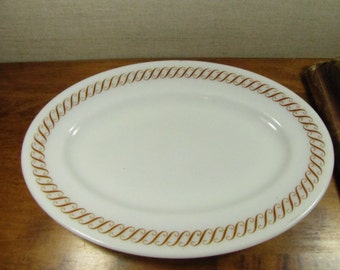 Vintage Pyrex Milk Glass Serving Platter with Golden Yellow Scrolls