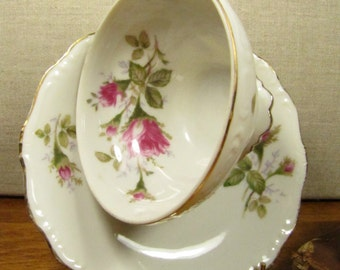 Vintage M -Rosemarie - Teacup and Saucer Set - Pink Roses and Rosebuds - Made in Japan