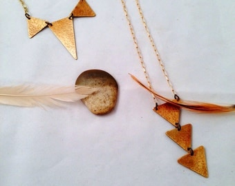 A two piece gold brass handmade necklace bib and lariat boho traingles set.