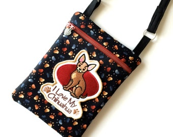 Cross Body Bag, Chihuahua Purse, Hipster Purse, Embroidered Dog Purse, Smart Phone Bag, Dog Lover