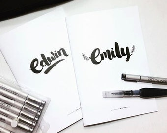 Custom Hand-lettering Notebook in A6/A5 Size
