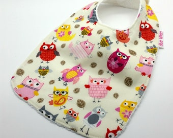 Baby Bib - Little Pink Owl Cotton Fabric, with optional Personalised Label, Terry Toweling backed, Snap Fastened, Adjustable.